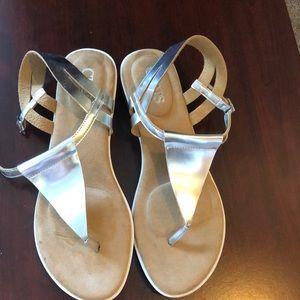 Ralph Lauren Chaps Silver Sandals NWOT Faux Leathe